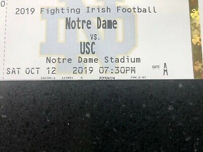 2 Notre Dame vs USC Tickets 10/12/19 Lower Bowl Section 4 Night Game.
