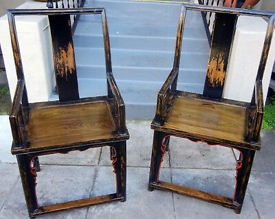 2 Arm Chair Side Dining Chairs Chinese officials distressed wood elm black brown