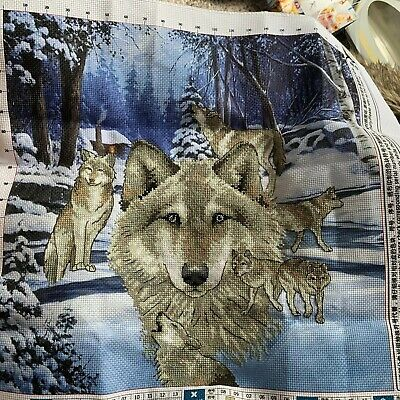 Completed Cross Stitch Of Wolves