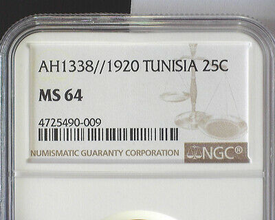 TUNISIA AH1338/1920(a) 25 CENTIMES (KM#244) NGC MS 64
