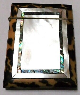 Victorian Mother Of Pearl Abalone Tortoise Shell Inlaid Calling Card Holder