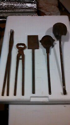 Vtg Blacksmith forging tools tongs dippers lot of 5