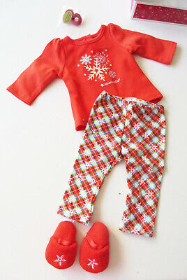 """NEW American Girl Holiday Dreams Pajamas Red Christmas PJs for 18"""" Blaire Doll"""