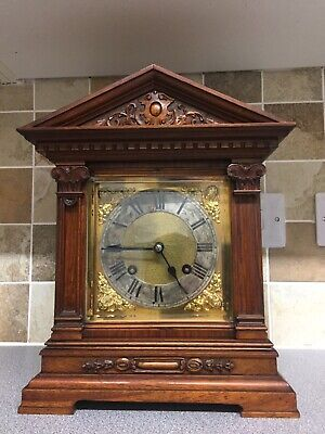 Edwardian Walnut German Mantle Clock ( Working Needs Small Repair And Service)