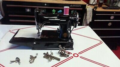Beautiful Working 1938 Singer 221 Featherweight Sewing Machine W/ Case, Serviced