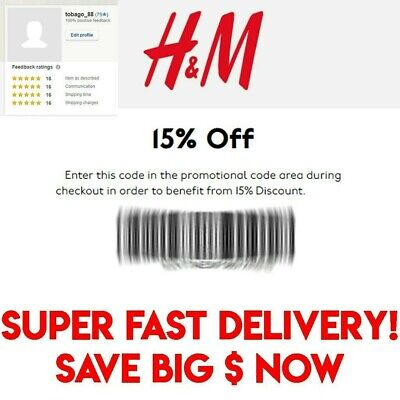 H&M 15% OFF Coupon - Your Entire ONLINE Purchase - SUPER FAST DELIVERY