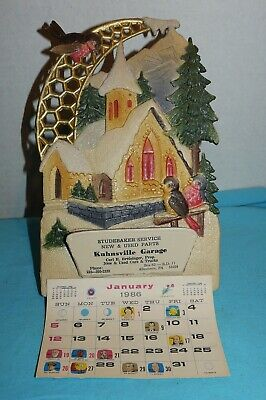 Vtg~GERMANY~Xmas~DIE CUT~CALENDAR TOPPER~Embossed~Church~STUDEBAKER Part~1986