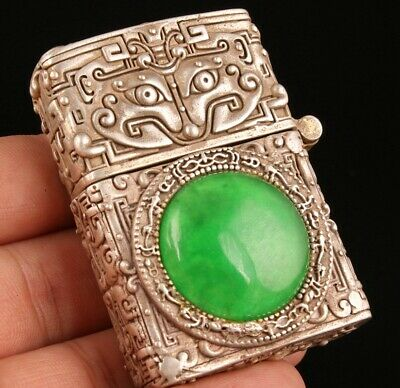 China Tibet Silver Jade Hand-Carved Lighter Shell Box High-End Gift Collec Old