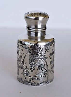 Antique Sterling Silver Perfume Scent Bottle ~ Herons, Butterflies, Flowers