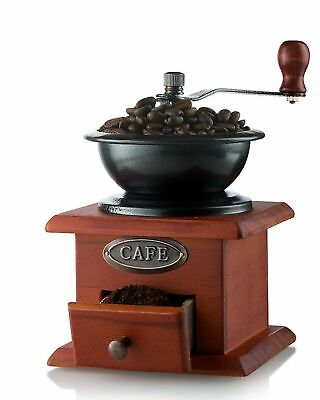 Old Grinder Mill Antique Manual Hand Crank Vintage Coffee Machines Wood Drawer