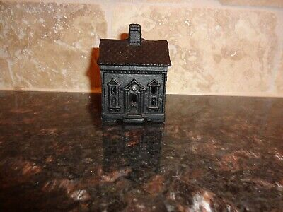 Vintage Cast Iron Still Bank Victorian One Story House 3""