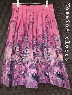 Vintage 50S/60S Skirt Hand Made One Off Design!Gorgeous Pink With Butterflies