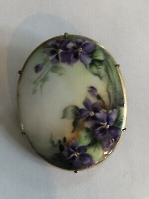 Antique Hand Painted Porcelain Victorian Forget-me-not Flower Brooch - Large