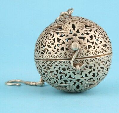 Rare Tibet Silver Hand Carved Incense Burner Pendant Good Luck Old Collection