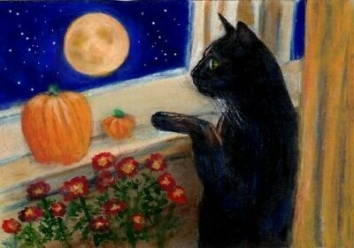 BCB Black Cat Halloween Moon Pumpkins Print of Painting ACEO  Golden Paw Charity