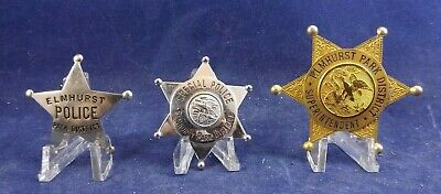 Elmhurst Park District Illinois Superintendent Badge Lot of 3 CH Hanson Chicago