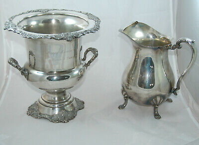 Silverplate Wallace Baroque Champagne Cooler & Crescent Water Pitcher