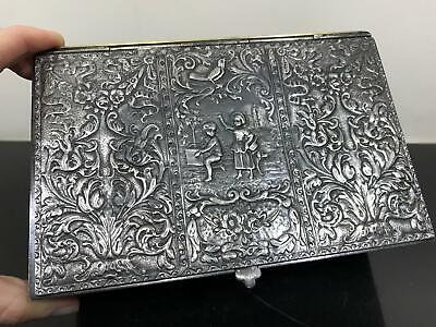 Antique Ornate Repousse Hammered Denmark Derby Silverplated Box Chest