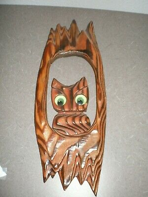 """Vintage, Mid-century Burnt Wood Carved OWL Wall Art ~ Kitschy 12.5"""" WITCO style"""