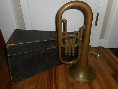 Antique Jerome Thibouville Lamy Concertant Euphonium Tenor Tuba Horn w Wood Case