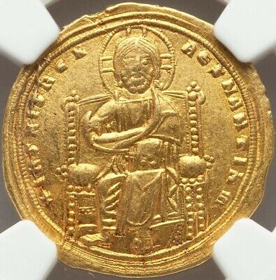 Ancient Byzantine Gold Coin Romanus III, AD 1028-1034 NGC CH AU Clipped Ex Gorny