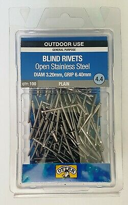 Otter STAINLESS STEEL 4.4 Plain Blind Rivets 100pk Di 3.2mm Gr 6.4mm RVOS32643