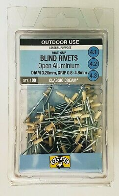Otter Aluminium Cream Blind Rivets 100pk Di 3.2mm Gr 0.8 - 4.8mm RVC132483