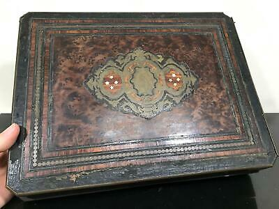 Antique Marquetry Inlaid Wood & Brass Family Crest Hinged Box Chest