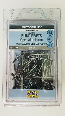 Otter Aluminium Dark Brown Blind Rivets 100pk Di 3.2mm Gr 0.8 - 4.8mm RVC2032483