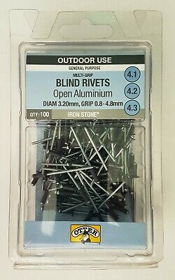 Otter Grey 3.2 x 0.8 - 4.8mm Open Aluminium Blind Rivets 100 Pack 4.1/2/3