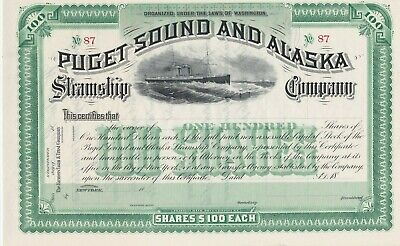 Puget Sound And Alaska Steamship Company Unissued Stock Certificate Shipping