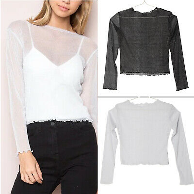 New Women's Mesh-Clubwear Long Sleeve Casual T-shirt Ladies Party Casual Top