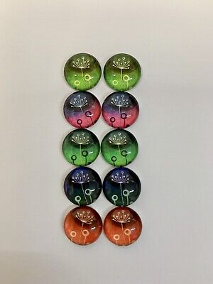 5 Pairs Of 12mm Glass Cabochons #612