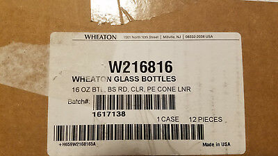 Wheaton Boston Round Bottle, Clear Glass, Capacity 16oz - Qty 12