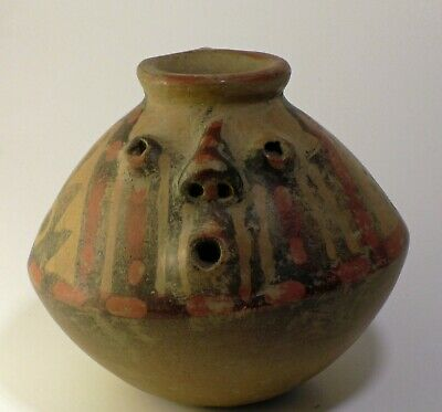 Pre Columbian Narino Pottery Fire Blower jar 800-1500 ce  bi color
