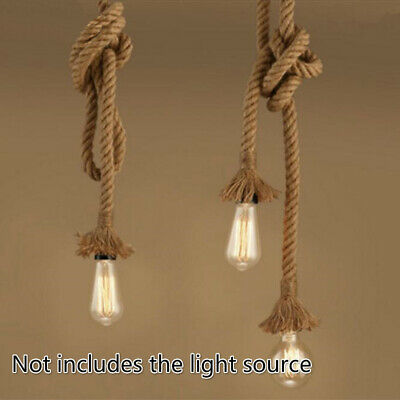 Retro Hemp Rope Pendant Light Holder E27 Loft Industrial Hanging Lamp Base