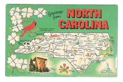 Greetings From North Carolina Fun Map Unused Vintage Postcard EB46