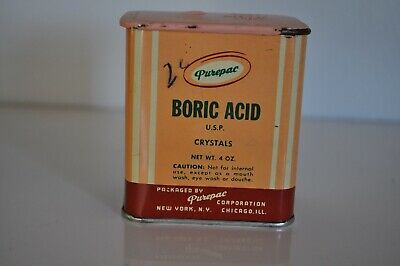 Vintage Boric Acid Container Purepac 4 Oz. Metal Container
