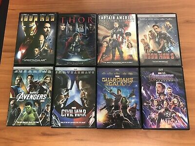 Marvel 4-Movie DVD Lot Collection Thor Captain America Avengers Guardians