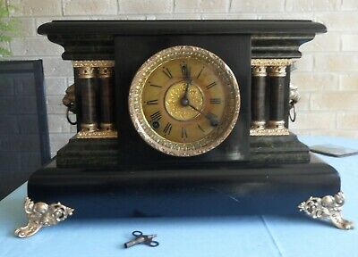 Antique Sessions USA Mantle Clock working with key.