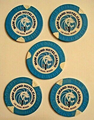 5 Vintage $1 MGM GRAND HOTEL Casino Poker Chips  Las Vegas NV 1996