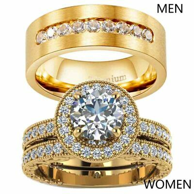 Yellow Gold Filled Couple Rings CZ Titanium Mens Ring Womens Wedding Ring Sets