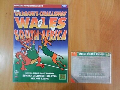 WALES V SOUTH AFRICA RUGBY UNION PROGRAMME + TICKET STUB DECEMBER 15th 1996.