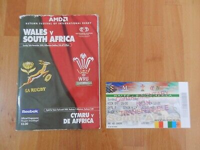Wales V South Africa Rugby Union Programme + Ticket Stub 26/11/2000.