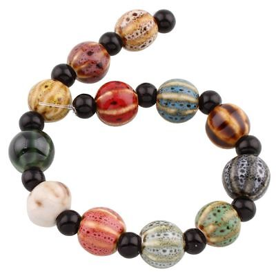 6pcs Multicolor Mix Round Ceramic Porcelain Boho Glazed Round Beads 11mm Hole...