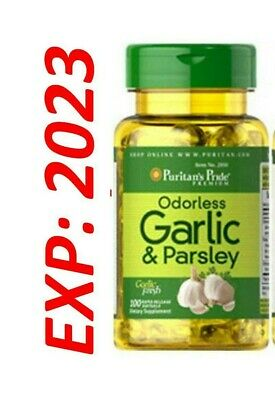 Garlic Parsley Odorless 100 Softgels Cholesterol Health Pills antioxidant Ex2021