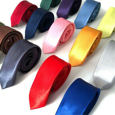 Mens Skinny Tie Plain Casual Slim Necktie Narrow Party Wedding Formal Neck Tie R