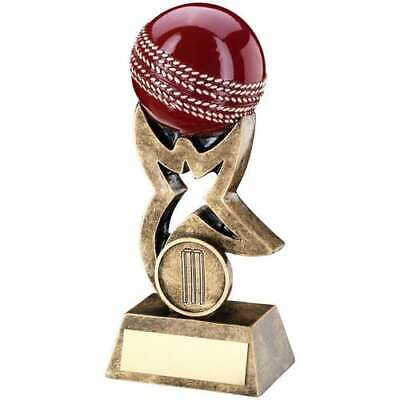 Cricket Trophy Award Bronze / Gold / Red Ball On Star Riser 5.5in FREE Engraving