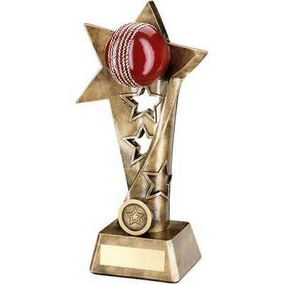 Cricket Trophy Bronze Gold Red Twisted Star Column 9in FREE Engraving