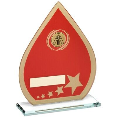 Cricket Glass Trophy Red Gold Teardrop 8in FREE Personalised Engraving
